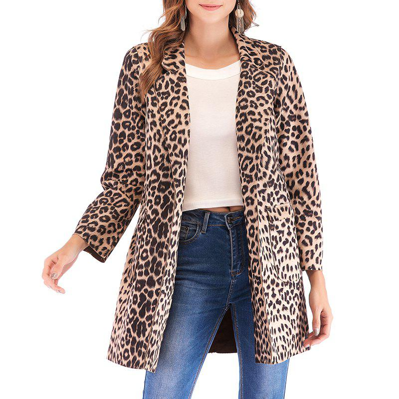 Affordable Autumn Leopard Print Lapel Long Sleeved Lady'S Coat