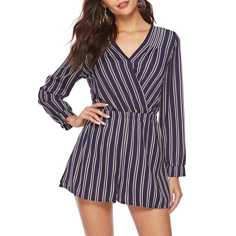 6621371aa17 2018 Casual Stripes V Collar Long Sleeved Shorts