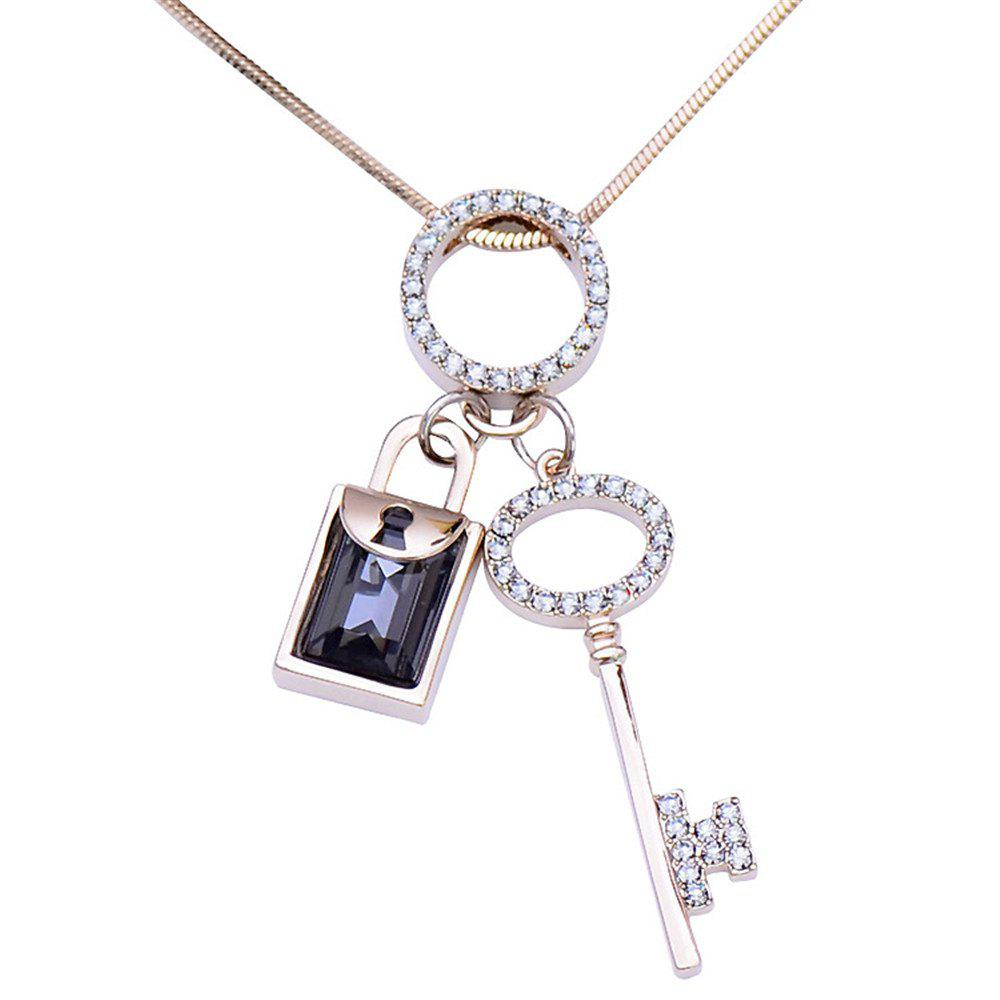 Fashion Crystal Key Pendant Necklace Long Style Necklace