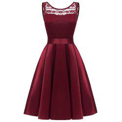 Ladies Spring and Summer Temperament Thin Sweet Solid Color Party Lace Dress -