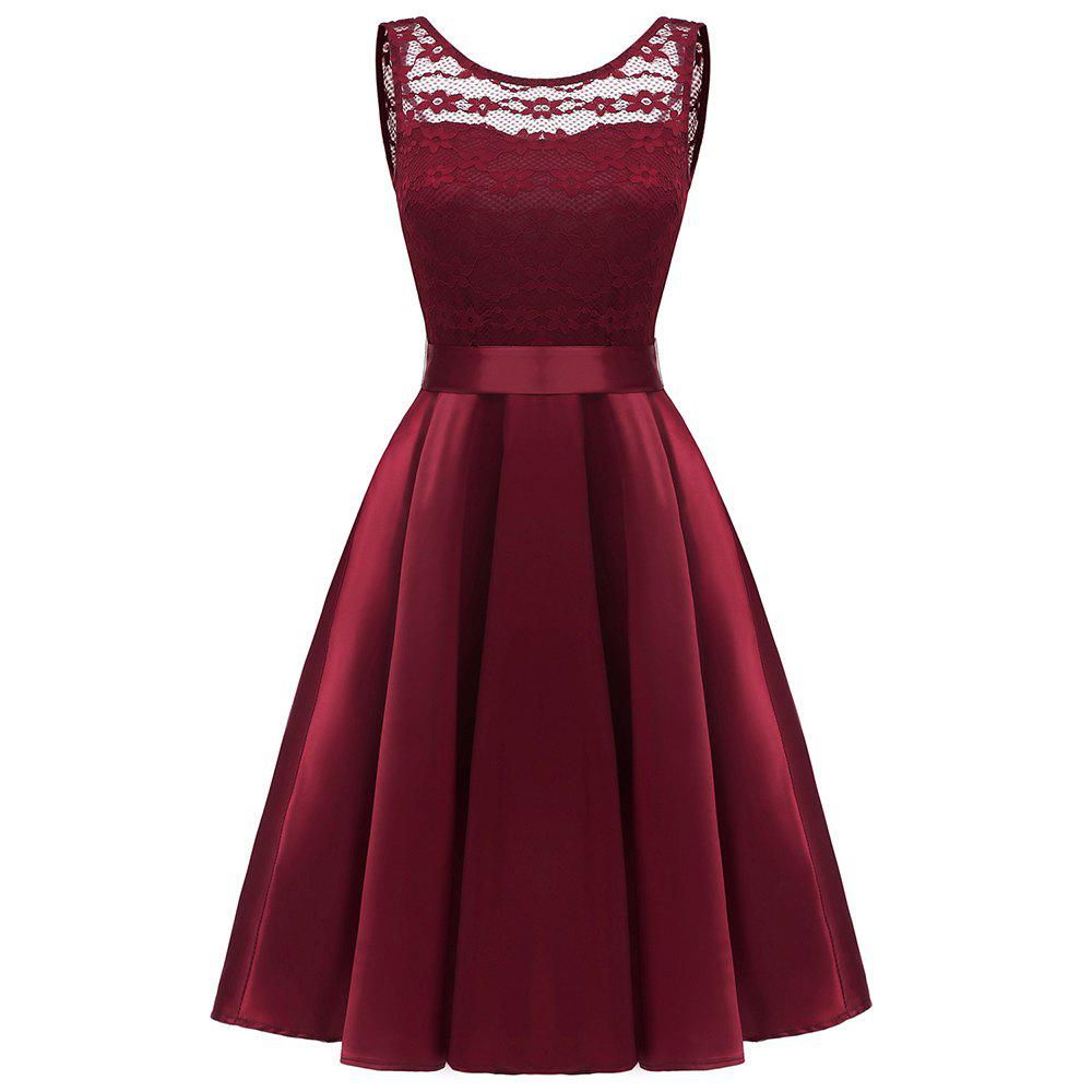 Online Ladies Spring and Summer Temperament Thin Sweet Solid Color Party Lace Dress