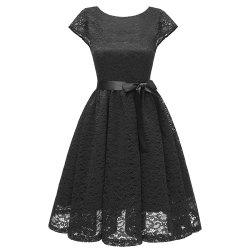 Ladies Temperament Slim Sweet Solid Color Gown Party Bridesmaid Lace Dress -