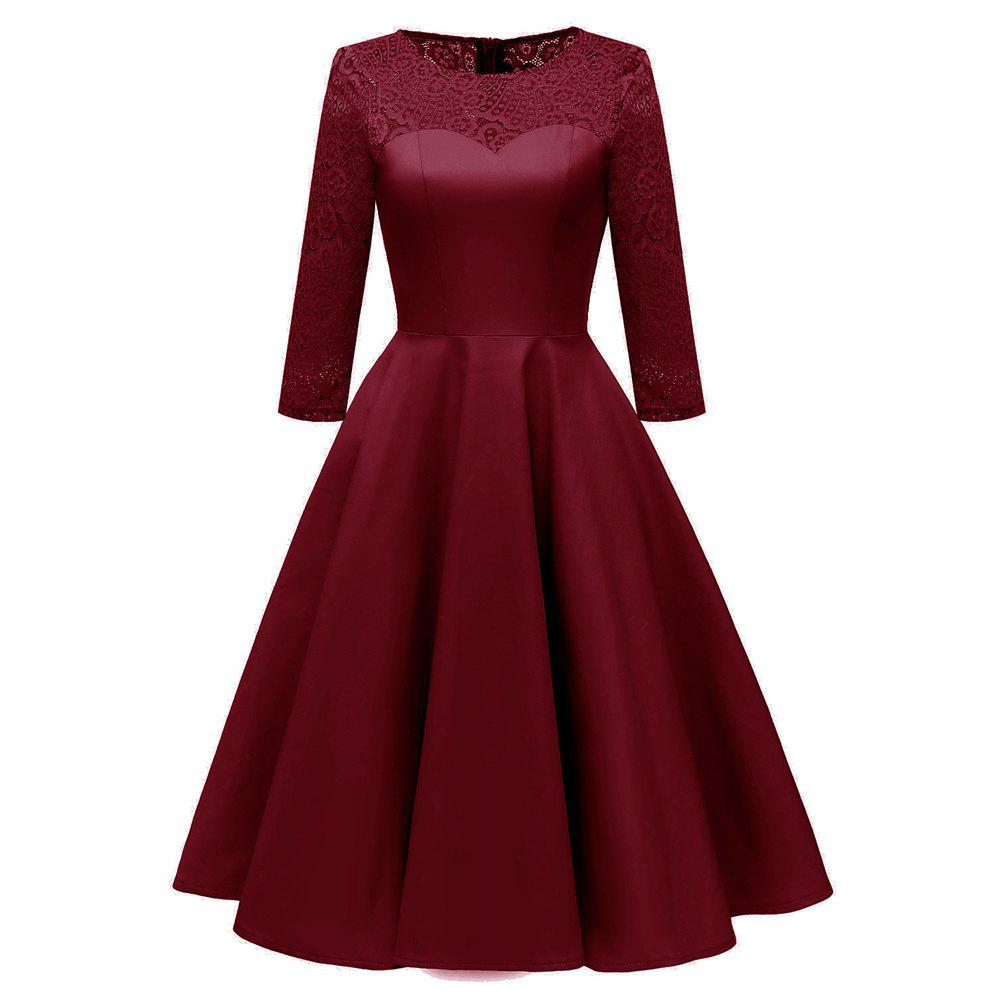 Store Ladies Temperament Slim Solid Color Cropped Sleeve Satin Lace Dress