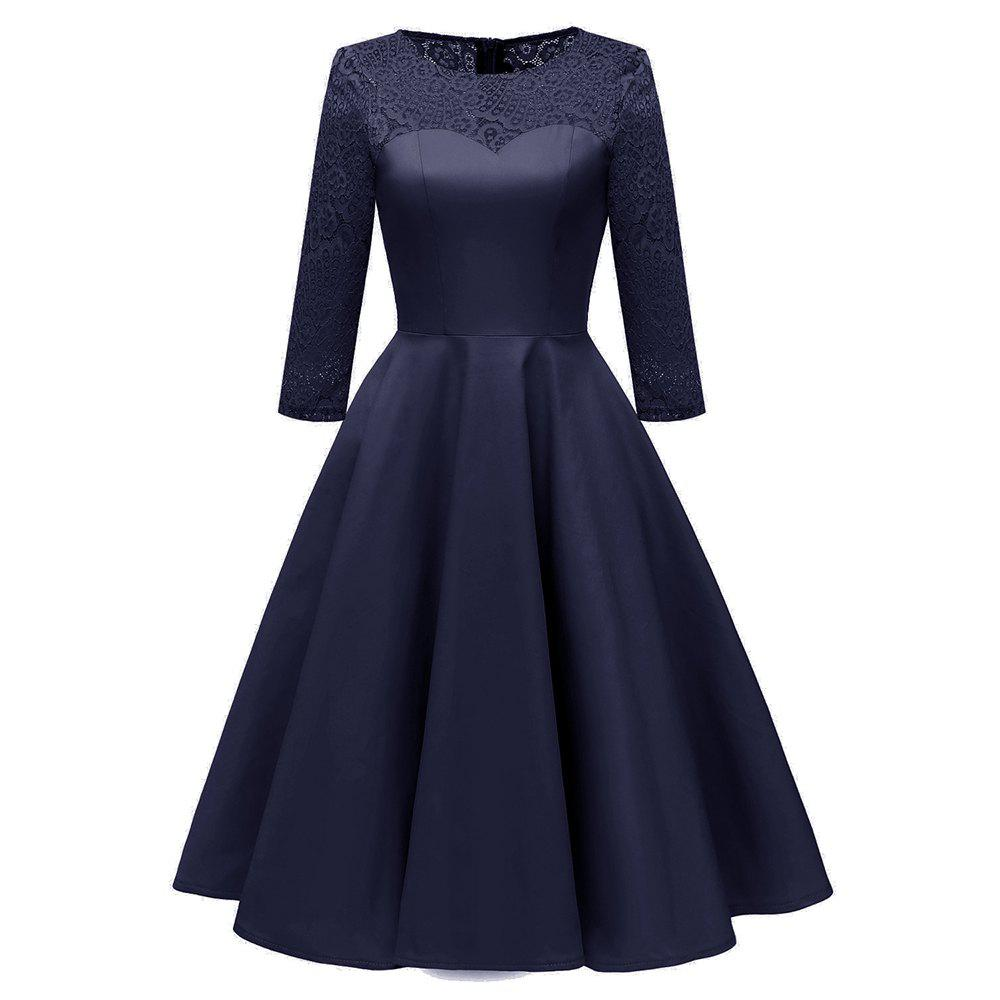 New Ladies Temperament Slim Solid Color Cropped Sleeve Satin Lace Dress