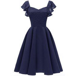 Ladies Temperament Slim Sweet Butterfly Sleeve Sexy Satin Sleeve Dress -