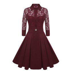 Temperament Slim Lady Sweet Solid Color Lace  Slim Dress -