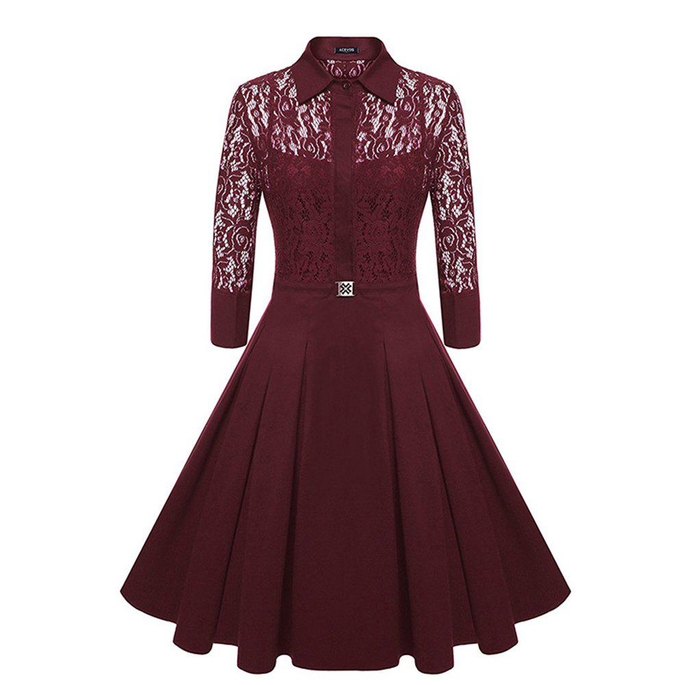 Buy Temperament Slim Lady Sweet Solid Color Lace  Slim Dress