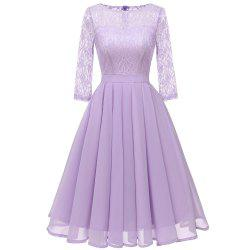 Ladies Temperament Thin Sweet Solid Color Dress Party Dress -