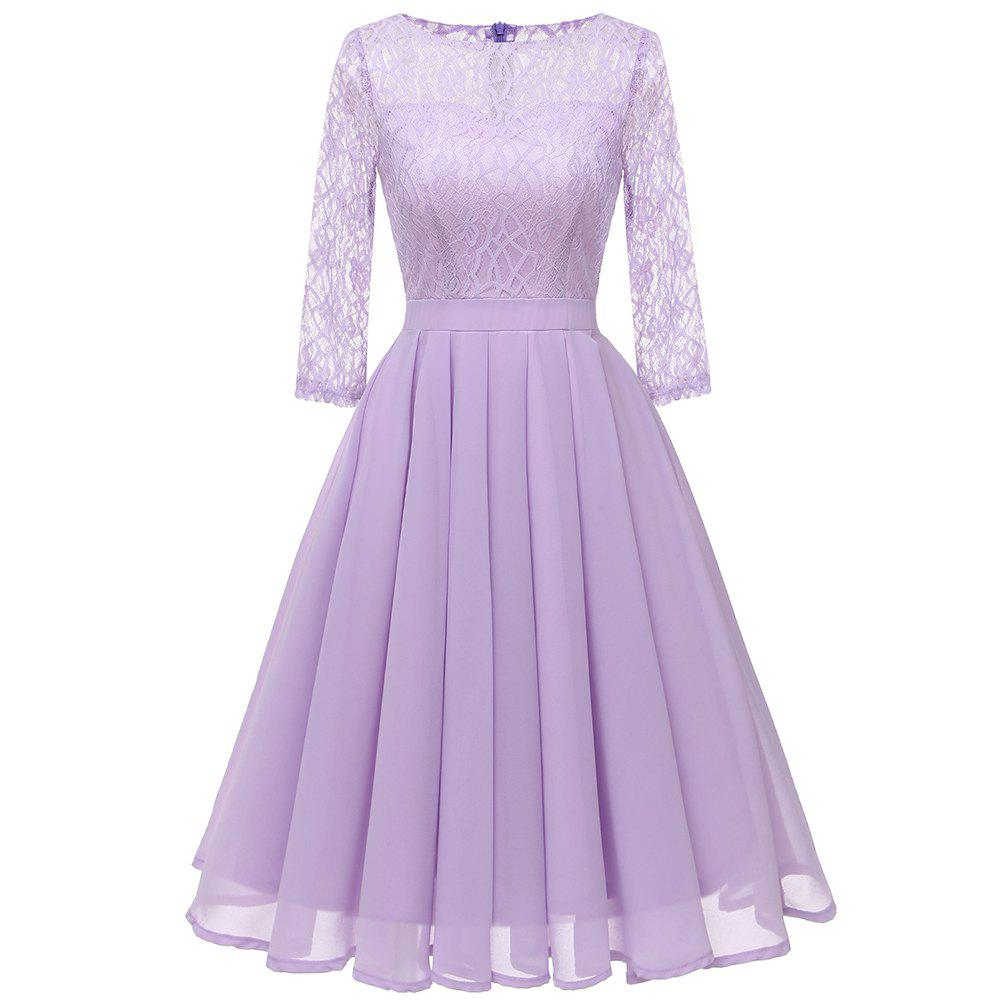 Affordable Ladies Temperament Thin Sweet Solid Color Dress Party Dress