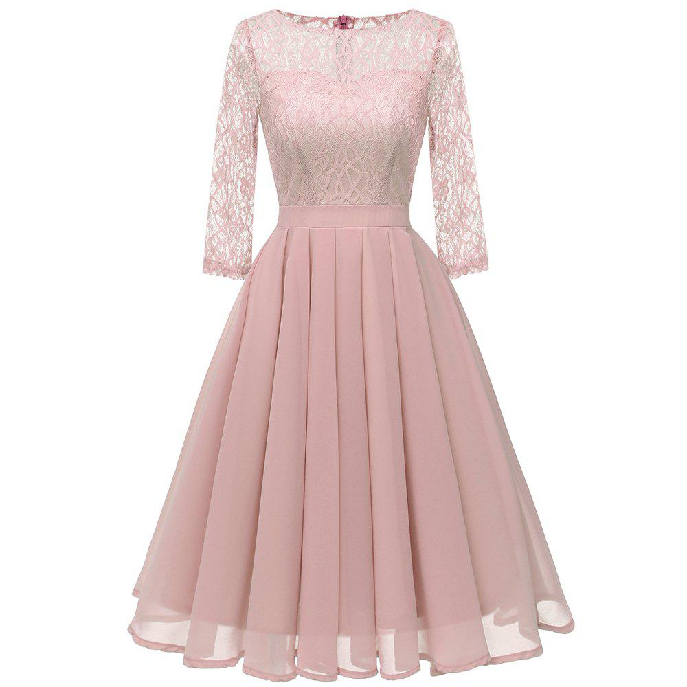 Cheap Ladies Temperament Thin Sweet Solid Color Dress Party Dress