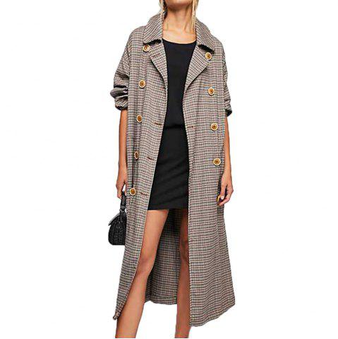 KISSMILK Women S Pleated Double-Breasted Long Trench Coat Multicolor ca11a6751ebd