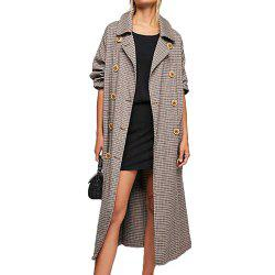KISSMILK Women'S Pleated Double-Breasted Long Trench Coat Multicolor -