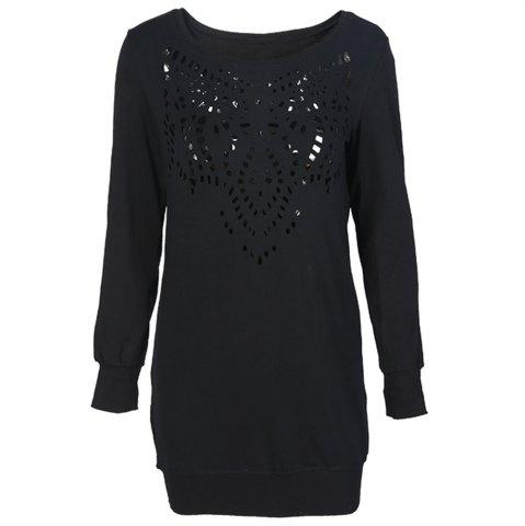 HAODUOYI Women's Unique Laser Cutout Long Sleeve Loose Dress Black