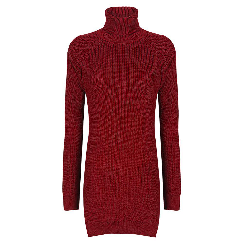 Outfit HAODUOYI Women's Fashion High Collar Open Knit Dress Red