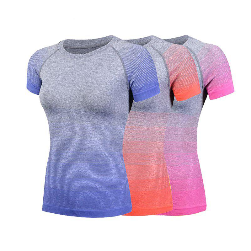 Trendy 3Pcs Women's Sports T-Shirts Trendy Gradient Color O Neck Short Sleeve Casual