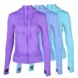 3Pcs Women's Sports Tops Solid Color Hooded Long Sleeve Quick Drying Zipper Coat -