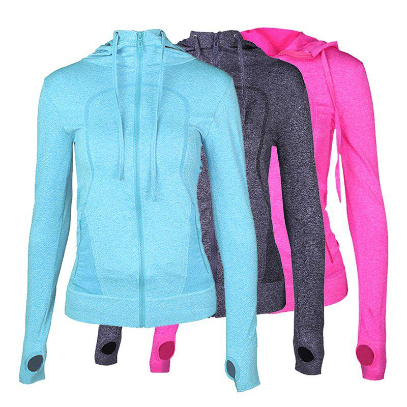 Outfits 3Pcs Women's Sports Tops Solid Color Hooded Long Sleeve Quick Drying Zipper Coat