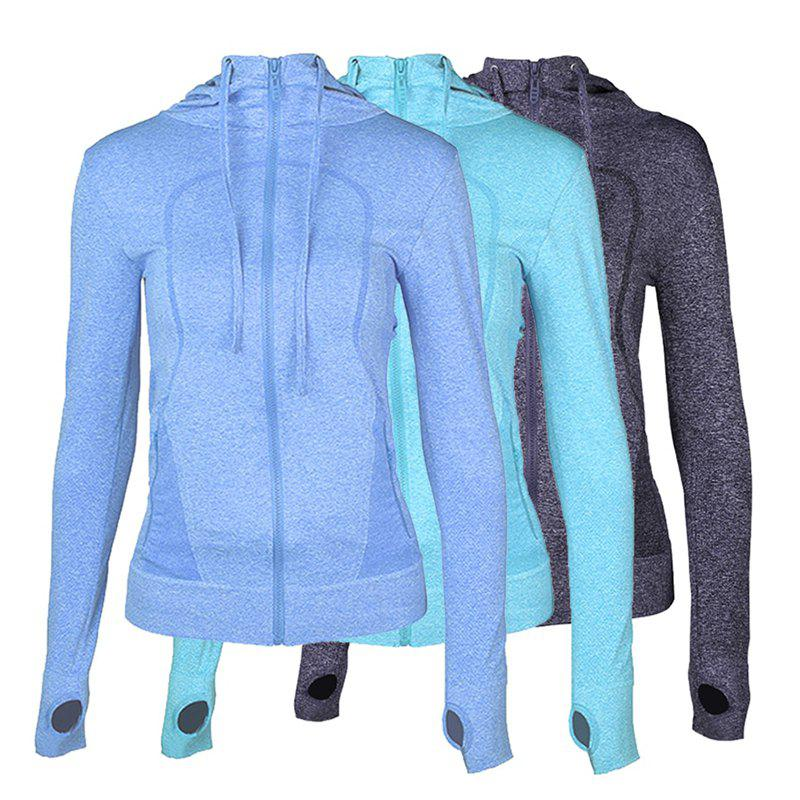 Shops 3Pcs Women's Sports Tops Solid Color Hooded Long Sleeve Quick Drying Zipper Coat