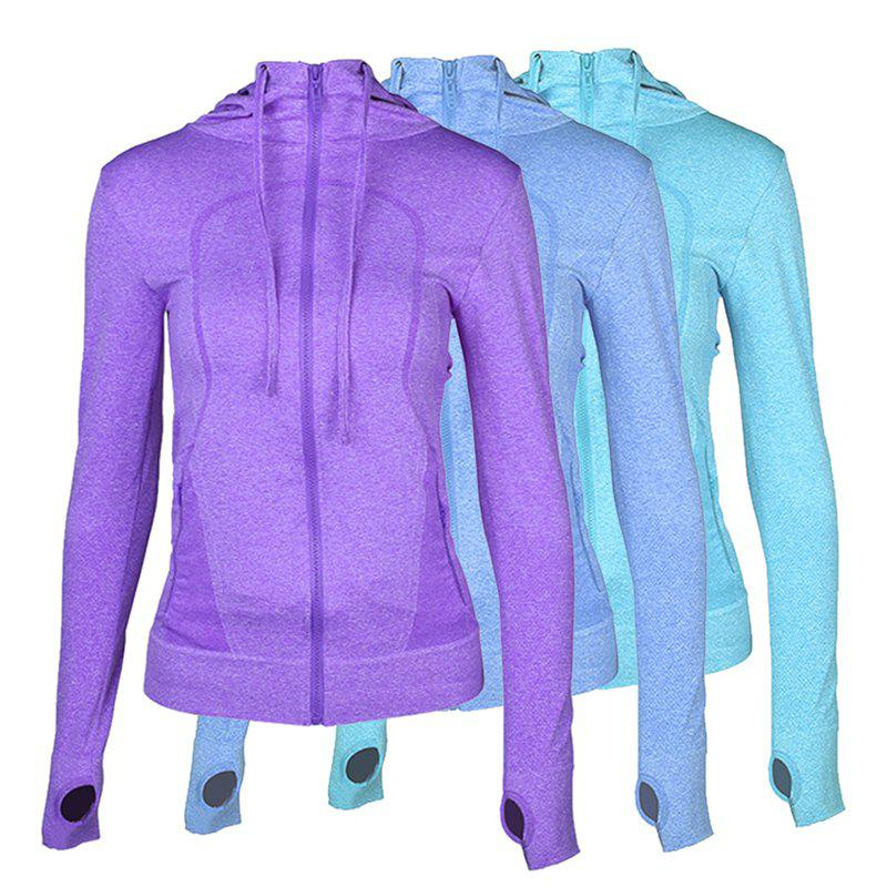 Online 3Pcs Women's Sports Tops Solid Color Hooded Long Sleeve Quick Drying Zipper Coat