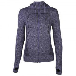 Women's Sport Coat Trendy Solid Color Hooded Long Sleeve Quick Drying Zipper Yog -