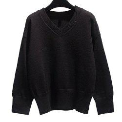 Pull femme col V ample à manches longues -