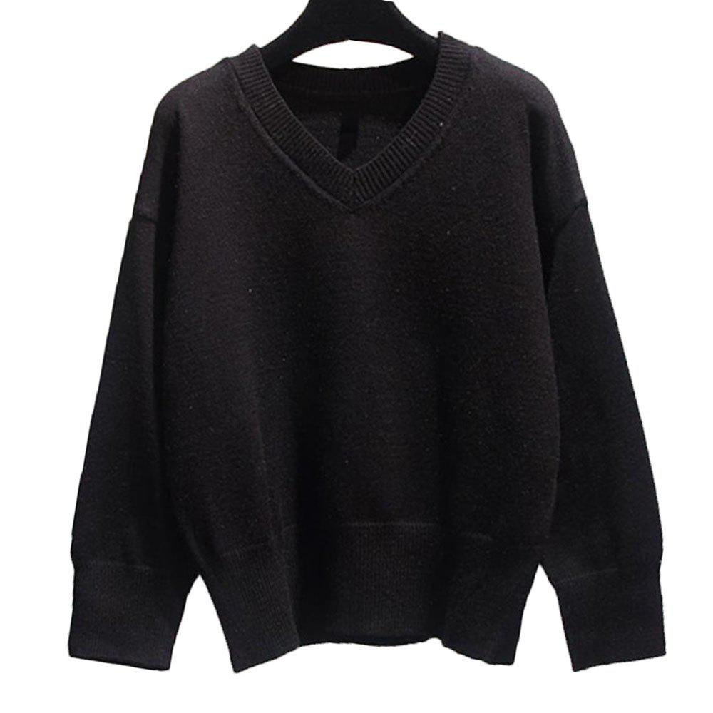 Pull femme col V ample à manches longues