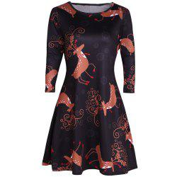 Christmas Multicolor Printed Elk Long Sleeve Dress -