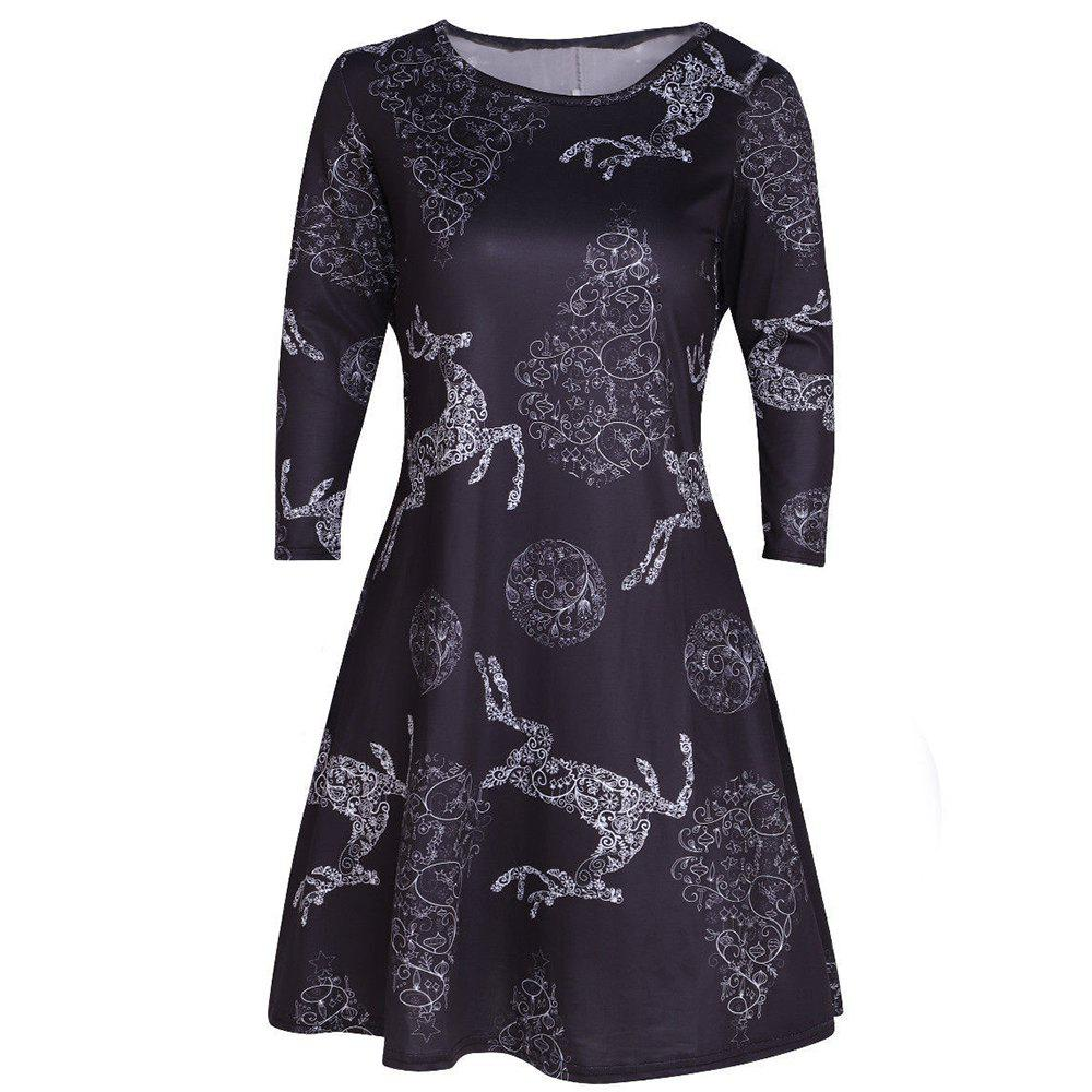 Discount Christmas Multicolor Printed Elk Long Sleeve Dress