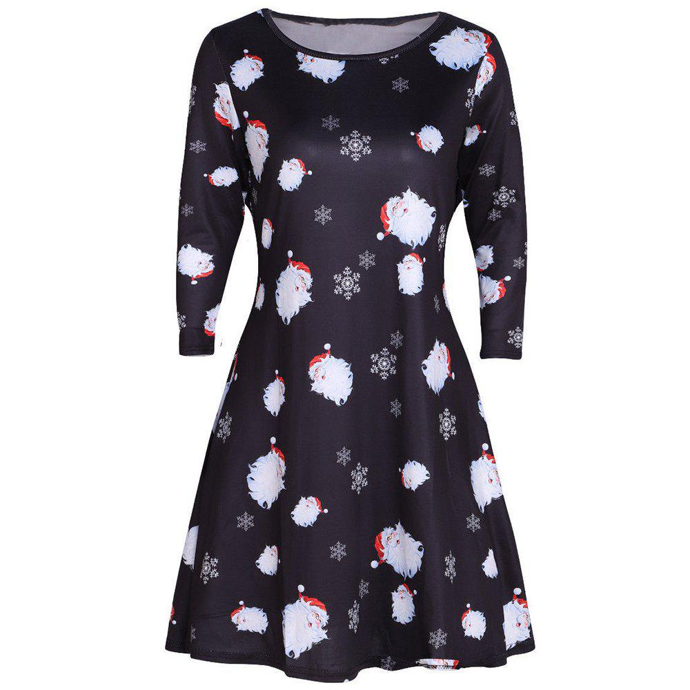 Trendy Christmas Multicolor Printed Elk Long Sleeve Dress