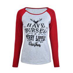 Christmas Multicolor Elk Antler Letter Printed Long-Sleeved Top -