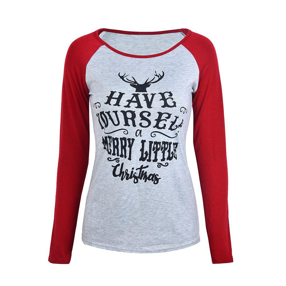 Outfit Christmas Multicolor Elk Antler Letter Printed Long-Sleeved Top