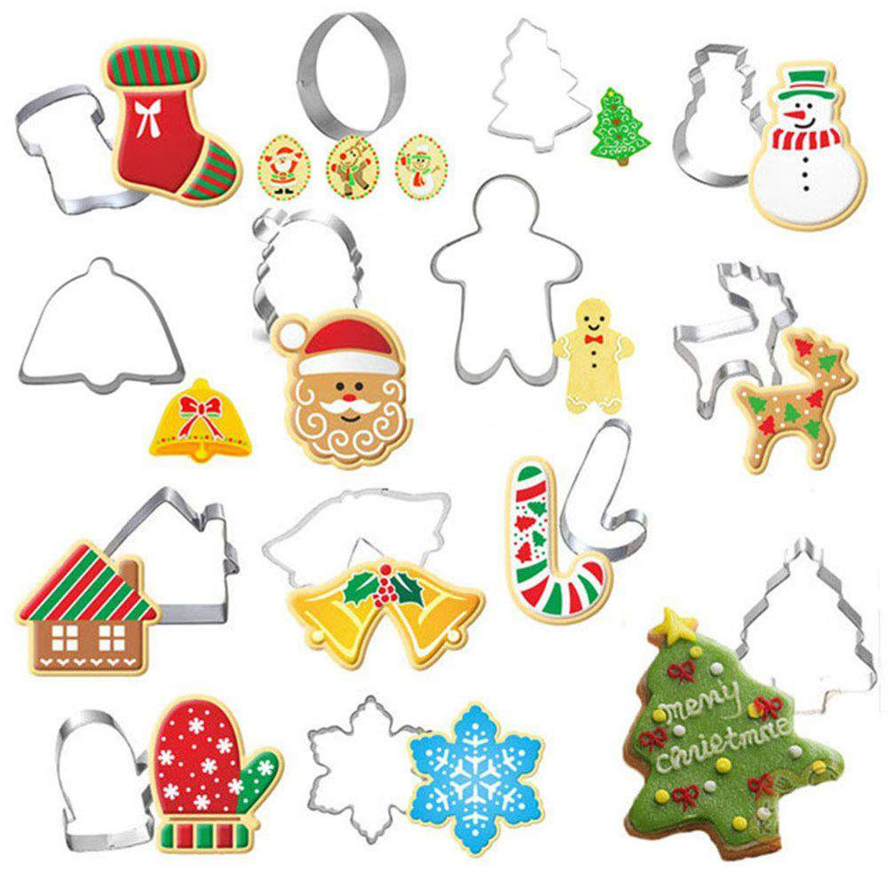 Chic 14Pcs Christmas Cookie Cutter Xmas Fondant Mold Stainless Steel