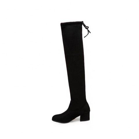 Rough High-Heeled Elastic Fabric Over Knee Boots