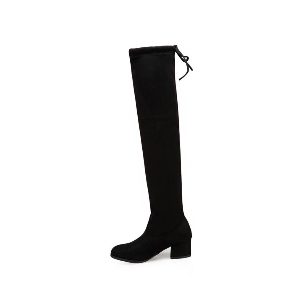 Fashion Rough High-Heeled Elastic Fabric Over Knee Boots