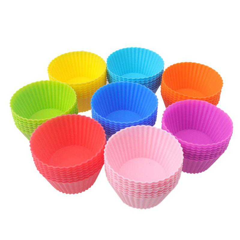 8 Pieces 7CM Round Silicone Reusable Baking Cake Molds
