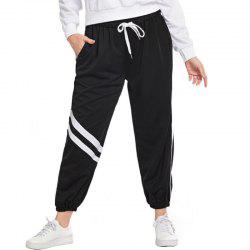 Loose White Stripe Drawing String Causual Pants -