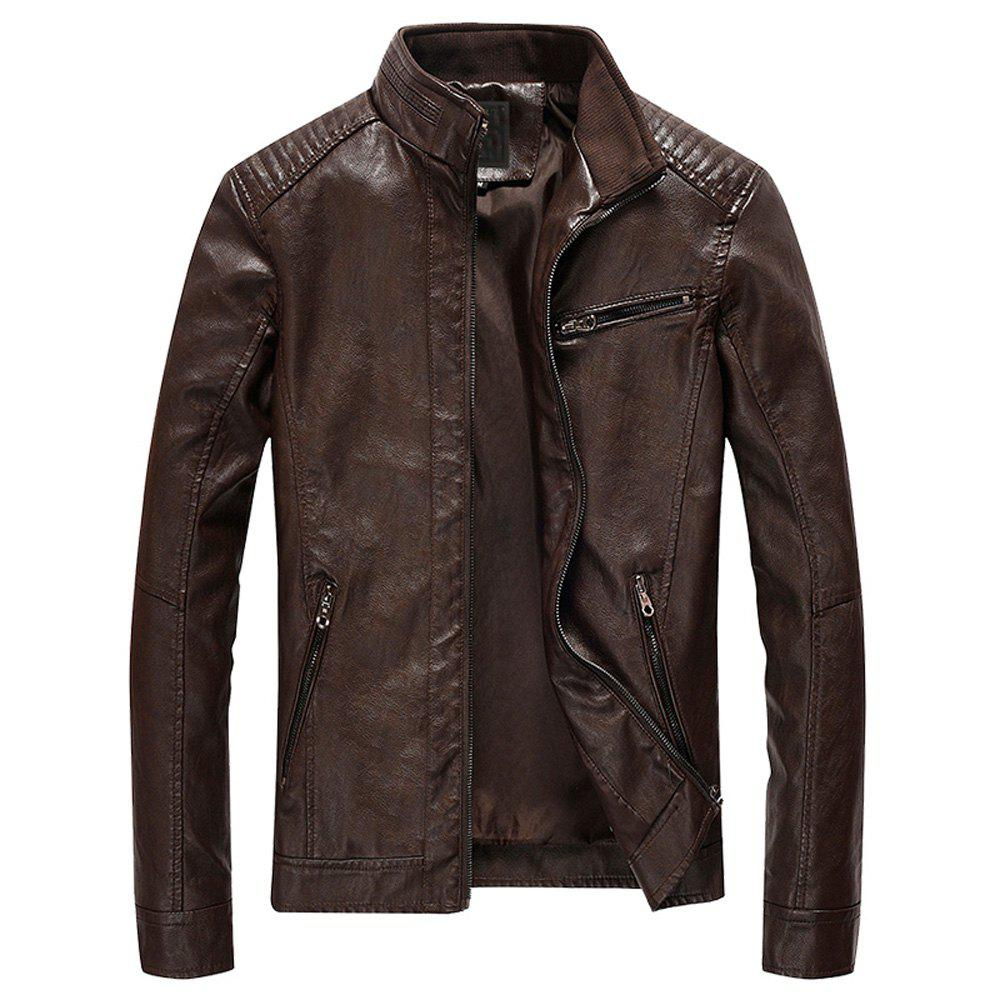 Men's Casual Slim Trend PU Stand Collar Thin Jacket, Coffee