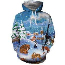 Women's Fashion Youth Christmas 3D Cartoon Print Patch Pocket Hoodie Sweater -