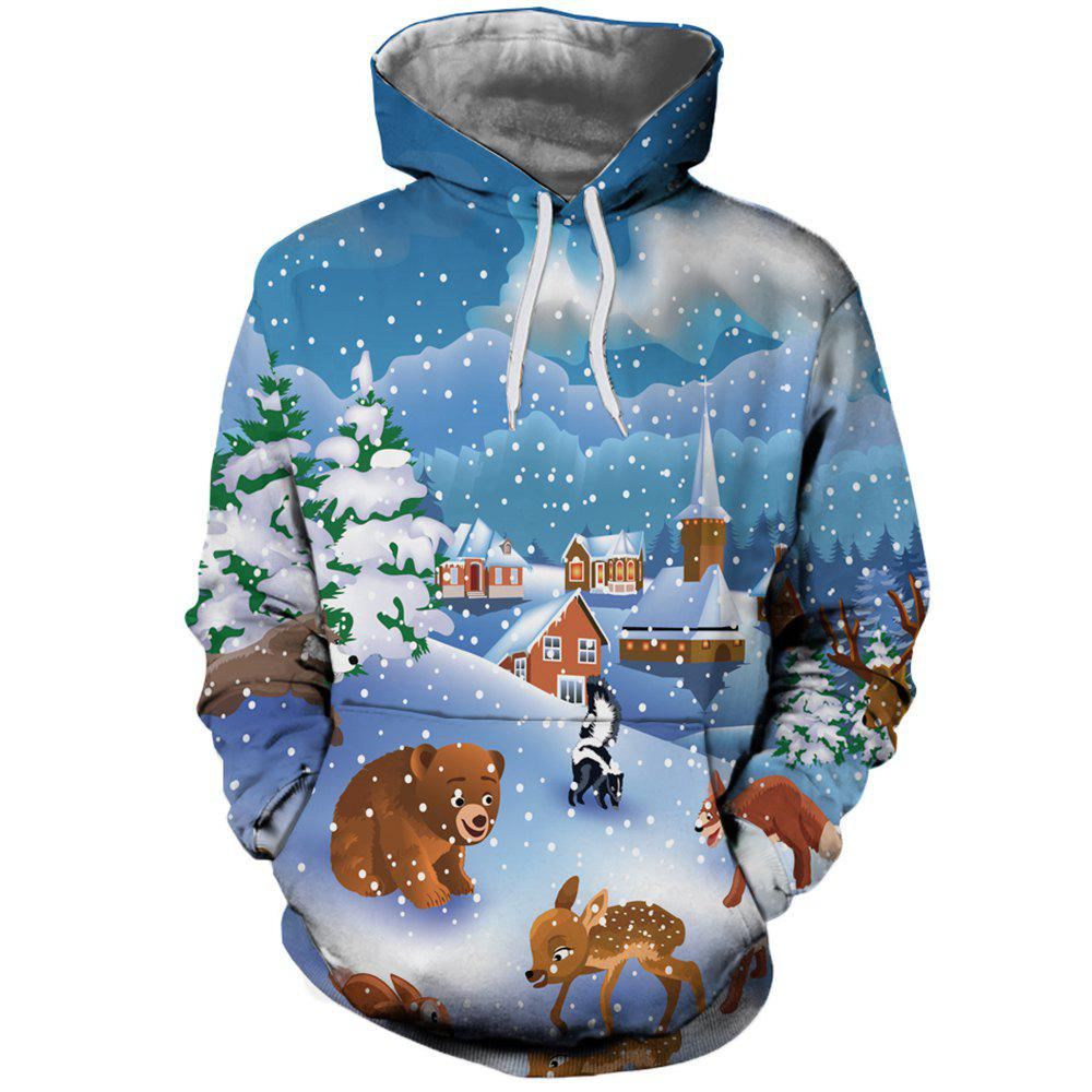 Women's Fashion Youth Christmas 3D Cartoon Print Patch Pocket Hoodie Sweater