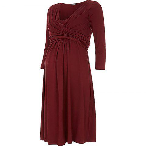 Maternity V Neck Solid Color Loose Plus Size Mid-sleeve Swing Dress