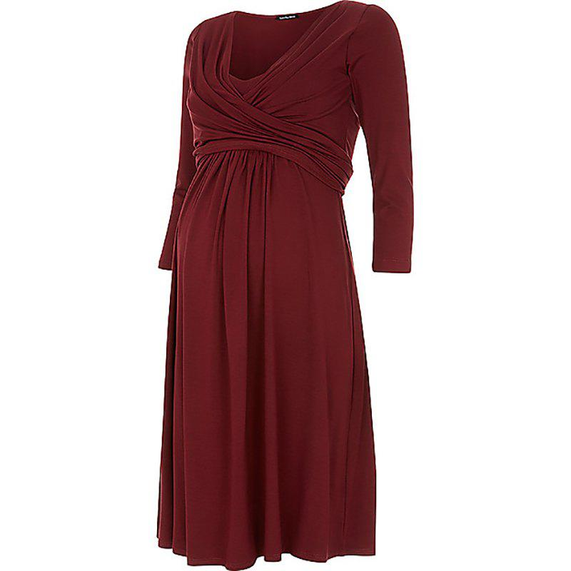 Cheap Maternity V Neck Solid Color Loose Plus Size Mid-sleeve Swing Dress