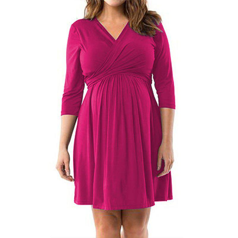 New Maternity V Neck Solid Color Loose Plus Size Mid-sleeve Swing Dress