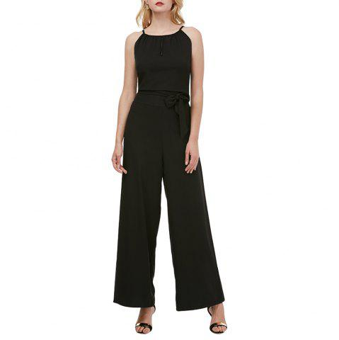 Women's Strap Cut Out Slim Plus Size Solid Color Wide Leg Black Jumpsuit