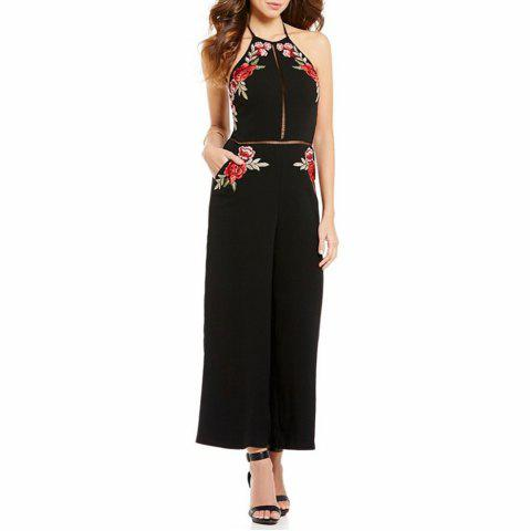 Women's Sexy Backless Halter Cut Out Embroidery Floral Wide Leg Jumpsuit