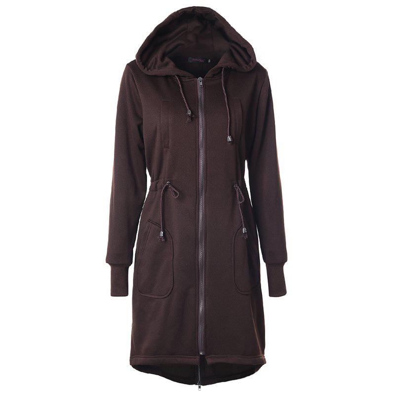 Shop Autumn Casual Hooded Long Sleeved Drawstring Long Coat