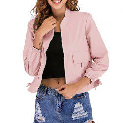 Autumn Round Collar Long Sleeved Casual Jacket -