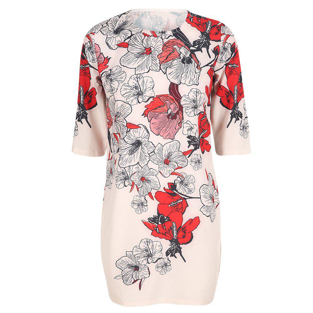 HAODUOYI Women's Hand-Painted Floral Print Slim Dress Multicolor, Multi-a