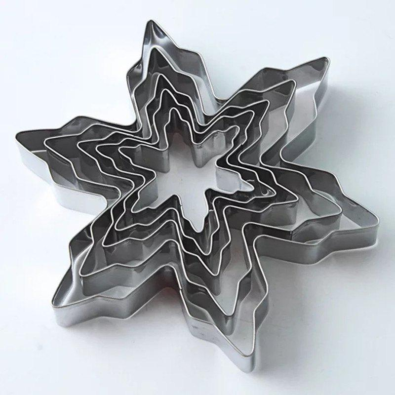 Baking tools christmas snowflakes 5 piece set stainless steel biscuit mold DIY b