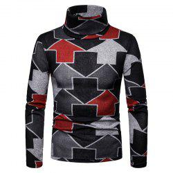 Men'S Large Size Warm High Collar Arrow Pattern Long Sleeve Bottoming Shirt -