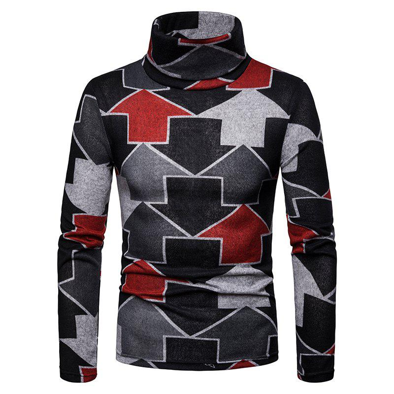 Buy Men'S Large Size Warm High Collar Arrow Pattern Long Sleeve Bottoming Shirt
